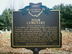 Zoar Village, OH (Tuscarawas County) - The reverse side of Ohio Historical Marker #18 - 79 in Zoar Cemetery.