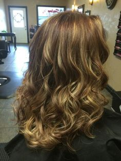 Natural light brown with Mahogany lowlights and blonde balayage.