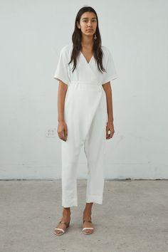 Minimalist Wardrobe, Minimalist Fashion, Minimalist Style, Summer Minimalist, Wrap Jumpsuit, White Jumpsuit, Rachel Comey, Capsule Wardrobe, Womens Fashion