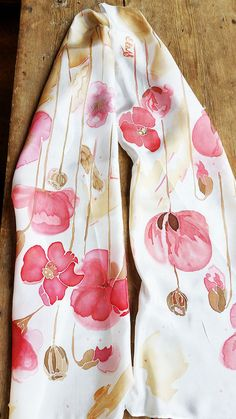 Hand painted silk scarf with red flowers Floral от EleNesSilk