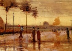 A Sunday in Eindhoven - Vincent van Gogh. Netherlands. Post Impressionism. Cityscape.  Watercolour. | via wikipaintings.org
