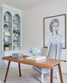 This elegant office is sure to inspire anyone. Blue and white office. Velvet chair. Feminine elegant office. Photo by Mel Bean Interiors in Tulsa, Oklahoma with @laureywglenn, @lonnymag, and @melbeaninteriors. White Office, Office Decor, Dining Table, Tulsa Oklahoma, Blue And White, Interiors, Femininity, Elegant, Chair