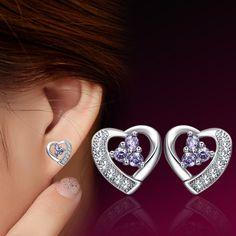 Fashion Silver Plated Heart-Shaped Crystal Earrings Female Wedding Jewelry Cubic Zirconia Earrings For Women Best Friends Gift