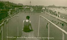 Photo:View of Great Yarmouth bathing pool from the diving board, Suffolk England, Norwich Norfolk, Great Yarmouth, Seaside Holidays, Diving Board, Pool Accessories, Holiday Photos, Old Photos, Swimming Pools