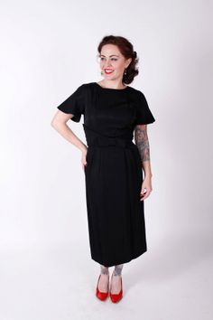 50s Vintage Dress Black Rayon Sheath 1950s by stutterinmama, $78.00