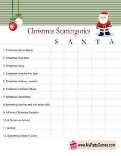 Free Printable Scattergories inspired Christmas Game using word Santa