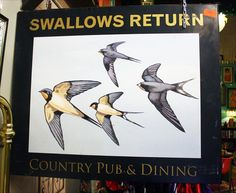Fantastic English pub sign - Swallows Return Pub Signs, Beer Signs, Shop Signs, Swallows Return, Atlanta, British Pub, Old Pub, Pub Crawl, England And Scotland