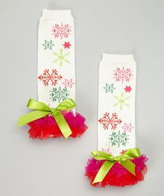 Loving this Head over Heels Hot Pink Snowflake Ruffle Leg Warmers on #zulily! #zulilyfinds