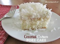 The Country Cook: Coconut Cream Poke Cake...yummy, think I would try it with either real whipped cream or cream made of separafed crwam from the cream of coconut, just whip it up...