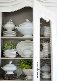 How to Style shelves like a pro. Antique French armoires bookshelves open cupboards or bookshelves displayed with dishes your French Country collection or books. - March 09 2019 at Decor, Country Decor, French Country Kitchen, Kitchen Decor, Dining Furniture, Cabinet Decor, Country Kitchen, Country House Decor, French Country Kitchens