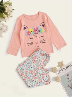 Style: CuteColor: MulticolorPattern Type: Cartoon, FloralNeckline: Round NeckType: Pajama SetsSleeve Length: Long SleeveComposition: Cotton, LinenMaterial: CottonFabric: Fabric has some stretchSheer: No Toddler Pajamas, Pajamas Women, Girls Sleepwear, Loungewear, Breastfeeding Dress, Kids Pjs, Kids Outfits, Cute Outfits, Night Suit