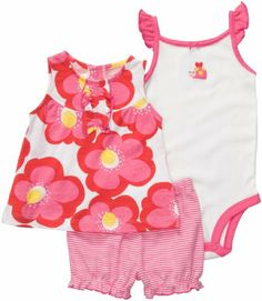 Carter's Diaper Cover Set - Pink/Red Floral-9 Months