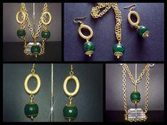 Collana composta da ciondolo con agata verde e catena, montata con componenti e chiusura finale in metallo color oro. Realizzazione artigianale. Prezzo 15 euro.