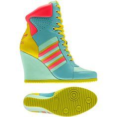 Femmes Chaussures compensées Jeremy Scott HI cuir, pool / light orange / light aqua