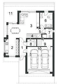 Logiczny D72 - Rzut parteru House Plans, Floor Plans, How To Plan, Modern, Projects, Blueprints For Homes, Trendy Tree, House Plans Design, House Floor Plans