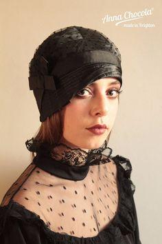 596499b43e67e 1920s 30s FLAPPER CLOCHE HAT black satin BOW M spots Tulle Plumetis Anna  Chocola