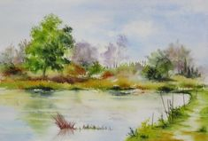 aquarelle,paysage,lac,reflets,étangs,abby,baie de somme,arbres