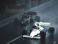 Ayrton Senna (Toleman-Hart TG184) & Stefan Bellof (Tyrrell-Ford 012), 1984 Monaco GP, Monte Carlo