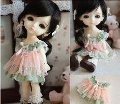 Green Lace Cake Party Dress for Lati Yellow Doll, Lati Yellow Doll Dress, Lati Doll Clothing