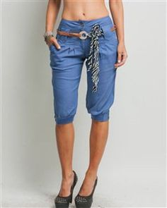 Denim Chambray Pleated Jodphur Capri Pant Shorts
