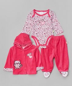 Look at this Duck Duck Goose Fuchsia Kitty Velour Hoodie Set - Infant on #zulily today!