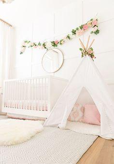 Blush Pink Baby Girl nursery, nursery inspirations, teepee, white cot, flower garland, simple nursery ideas