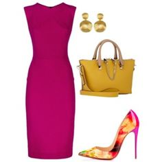 A fashion look from May 2016 featuring Roland Mouret dresses, Chloé shoulder bags and Marco Bicego earrings. Browse and shop related looks. Komplette Outfits, Classy Outfits, Beautiful Outfits, Church Fashion, Work Fashion, Fashion Looks, Fashion Beauty, Professional Attire, Passion For Fashion