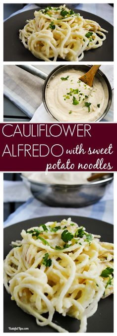 Garlic Cauliflower Alfredo with Sweet Potato Noodles - vegan, dairy free, gluten free, and delicious! Zoodle Recipes, Veggie Recipes, Whole Food Recipes, Vegetarian Recipes, Cooking Recipes, Healthy Recipes, Sweet Potato Spiralizer Recipes, Going Vegetarian, Sweet Potato Noodles