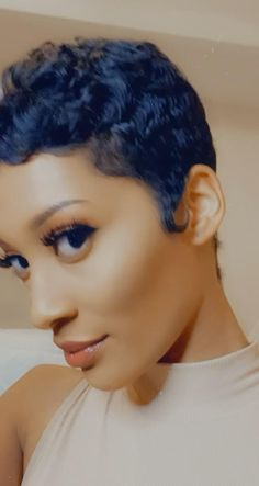 Short Pixie Wigs, Short Permed Hair, Curly Pixie Hairstyles, Black Women Short Hairstyles, Pixie Haircut For Thick Hair, Short Human Hair Wigs, Short Sassy Hair, Girls Short Haircuts, Pixie Cuts