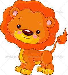 Fun zoo. Lion  #GraphicRiver         Fun zoo. Illustration of cute Lion…