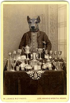 Writer and artist Charlotte Cory gives the classic carte de visite style of photographic portraiture a modern, surrealist twist with the inclusion of animal heads. Creepy Dude, Stuff And Thangs, Animal Heads, Dog Art, Dog Life, Pet Portraits, Vintage Photos, Fur Babies, Creatures