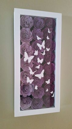 Flower shadowbox with butterflies