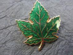 GUILLOCHE  Green Enamel Goldtone Leaf Vintage Brooch Pin