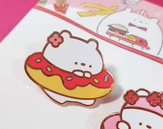 Donut tube & Cerabear pin / food badge / cute bear enamel pin
