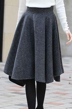 Herringbone Flared Skirt | Korean Fashion