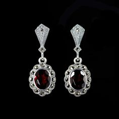 Just added some gorgeousness to my website! Click here to SHOP! http://www.alexandramay.com/products/marcasite-garnet-oval-drop-earrings-he251gn?utm_campaign=social_autopilot&utm_source=pin&utm_medium=pin