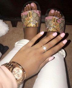 Cute Toes, Pretty Toes, Pretty Nails, Toe Nails, Pink Nails, Cute Slides, Nail Store, Luxury Nails, Mani Pedi