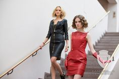 Discover the unique Going out Collection of Mariela Pokka fashion. Red and black leather skirt and dress.