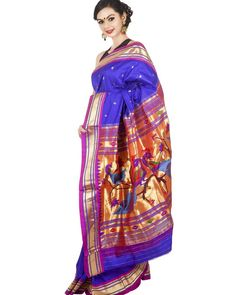 """""""Blue #Paithani saree with rich elaborate pallu. Shop now @onlypaithani online #saree store.  For more information you can Whatsapp @ +91 9820516447 or…"""""""