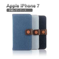 iPhone7 手帳型 ケース レザー キャンパス デニム おしゃれ アイフォン7 手帳型レザーケース IP7-CO01 - IT問屋直営本店