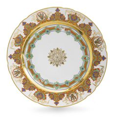 A Russian Porcelain Dinner Plate from the Kremlin Service, Imperial Porcelain Manufactory, St. Petersburg, Period of Nicholas I (1825-1855)
