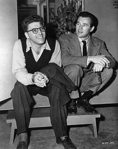 Burt Lancaster and Howard Duff between scenes of Brute Force