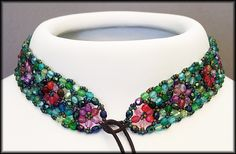 Kronleuchterjuwelen Glasperlenschmuck - Perlenspitzen-Halsband Tiffany