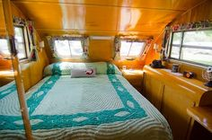 (1948 Spartanette interior) --- A chenille bedspread - how appropriate!  : )