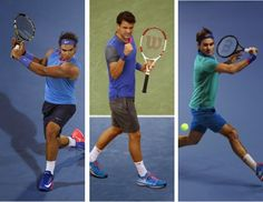 Nike officially released the looks for Rafael Nadal, Grigor Dimitrov, and Roger Federer for the 2014 US Open. #tennisfashion #tennisstyle