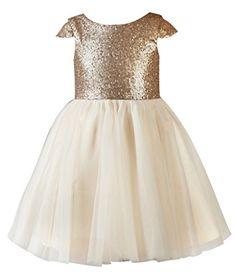 Thstylee Sequin Tulle Cap Short Sleeve Flower Girl Dress Little Girl Toddler Dresses Size US 3T Gold