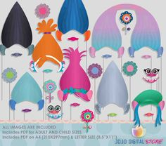 Troll dolls Photo Booth Props for colorful by JoJoDigitalStore Trolls Birthday Party, Troll Party, 6th Birthday Parties, 4th Birthday, Birthday Ideas, Best Kids Toys, Party Props, Party Ideas, Troll Dolls