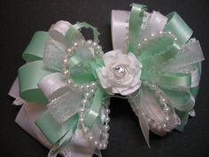 Pretty Mint Green and White Elegant and Dressy Hair Bow for your Wedding, Pageant, Communion, Dedication, Confirmation, Fancy, or Special Occasions .