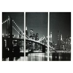 This City Scape Canvas Set features the beautiful Brooklyn Bridge with the breathtaking New York towering cityscape at night split into 3 separate canvas panels. Each canvas features a monochrome print of the scene that fits perfectly next to the others. Dim: 60cm x 80cm Just £12.99.