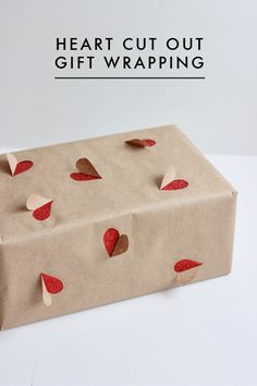 Heart cut out Gift Wrapping | Honey and Fizz  Saving for Valentine's day school box idea!